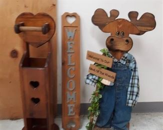 Moose Standing Décor, Welcome Sign, Wood TP Holder