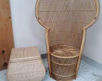 Wicker Patio High Back Chair and Wicker Storage Basket