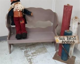Wood Doll Bench, Santa Doll and Wood Candle Décor