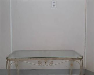 Metal / Glass Top Outdoor End Table