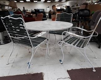 Round White Metal Patio Table and Four Chairs