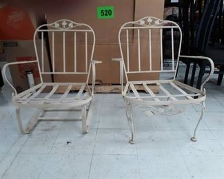 Two Metal Patio /Outdoor Arm Chairs