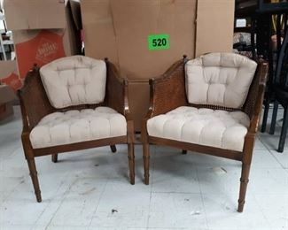 Two Wicker / Upholstered Barrell Arm Chairs