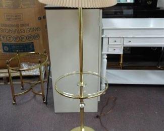 Metal Floor Lamp w/ Glass Built In Table