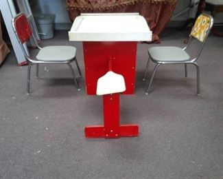 Wood See Saw Play Table and Two Child Size Metal Chairs