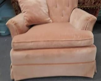 Pink/Rose Upholstered Arm Chair w/ Pillow