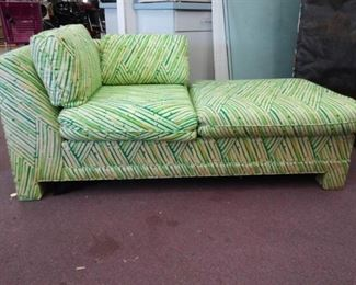 Green Striped Upholstered Chaise Lounge