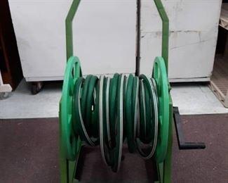 Plastic Rolling Hose Reel Cart w/ hose