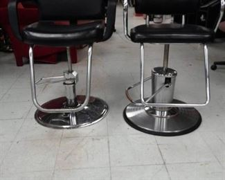 Two Vinyl Covered Barber / Salon Chairs