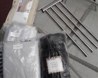 Peva Shower Curtain Liner, Bedskirt and Blanket, Wall Mount Towel Rack