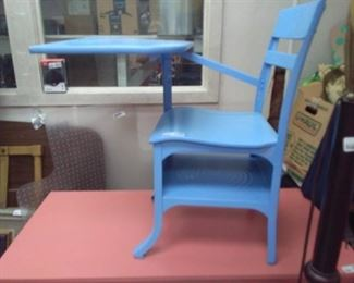 Vintage Child's School Desk Painted Blue
