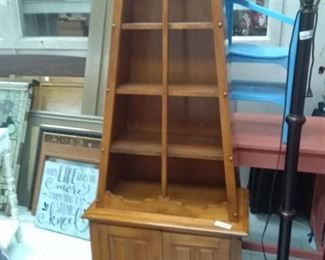Wood Cabinet w/ Shelves and Under Cabinet