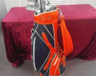 University of Auburn Golf Bag and Mixed Brand Golf Clubs