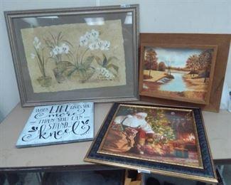 Framed Print of Flowers, Barnwood Frame Painting, Santa Claus Framed Print…