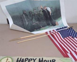 Vietnam Memorial Print, American Flags, Happy Hour Sign