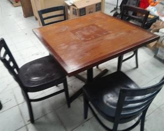 Square Wood Top Table and Four Metal Chairs with Vinyl Seats