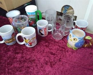 Cups and Glasses Lot- Mickey Mouse, Owl, Elvis…