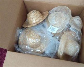 Beanie Babies in Wicker Lidded Basket, Box full of Doll Straw Hats