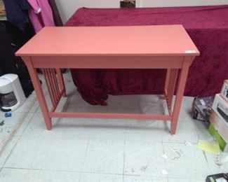 Rose Color Mission Style 3 Drawer Library Table
