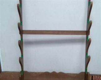 Wall Mount Wood Gun Rack holds 5-6 Guns, Bag full of Aluminum Pole Sections