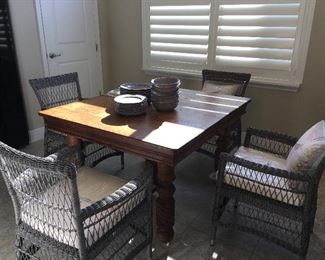 Antique farmhouse table with three leaves: measurments (closed) 47 wide by 42 deep. Price: $250 4  Broyhill wicker chairs (cushions not even unwrapped). Price: $75 ea.