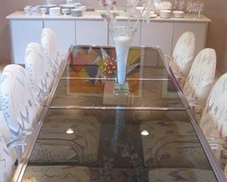 Milo Baughman Chrome Framed Extending Dining Table with 8 Lucite Framed Chairs by Tri-mark/Tulip . Buy them Now for $2,500. 952-261-6461 for viewing.