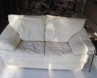 Leather Love Seat in the Style of Roche Bobois.