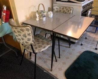 Adorable Formica drop leaf table with 2 chairs