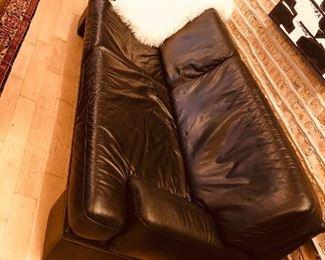 Original 1970's black leather sofa in fantastic shape!