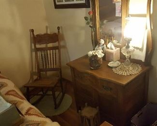 Lots of chairs, oak princess dresser with mirror