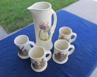 Roseville pitcher and mug set
