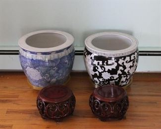 Ceramic Pots, Wooden Plant Bases
