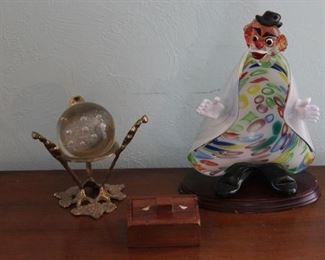 Glass Clown Statue, Gazing Ball, Small Wood Box