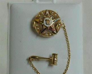 14 k 1955-56 Eastern Star Pin w/Pearls