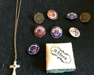 Necklace from Israel, church service pins