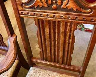Carved set of 7 dining room chairs