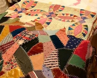 2 old crazy quilts