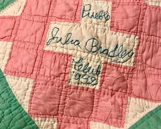 "Old hand made church quilt dated ""1932"""