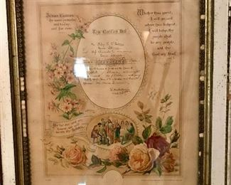 "Framed ""1901"" marriage certificate"