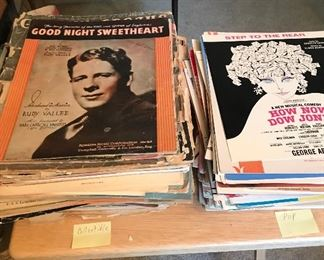Variety of collectible sheet music