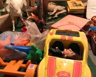 Barbie cars, horse's, dolls