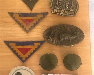 Old buckles and military patches