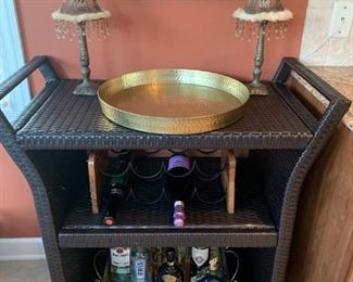Beautiful Crosley Wicker Bar Cart! Candle Lamps, Threshhold Brass Serving Tray, Mirror Romantic Tray, Wrought Iron & Wood Wine Rack!