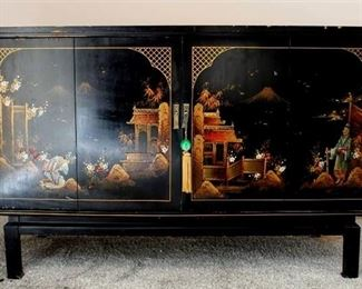 Vintage Black Lacquer Chinoiserie TV/Stereo Console Cabinet
