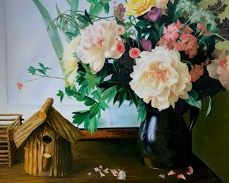 Signed S. LEE in lower right corner,  attributed to Siu Ho Lee (Chinese-American,  1957 - ). Photorealistic Oil Painting on  canvas depicts floral still life with  birdhouse. Canvas is lined and set in two tone gold and black wood frame. Canvas  measures approx 20 inches by 24 inches. Frame  measures approx 23.6 inches in height by  27.5 inches in width. Signed original  artwork, photorealistic painting, collectible  fine art. Property of a Manhattan, NY  Estate. 7 'Siu Ho Lee is one of the few talented young  artists to arrive on America's shores as a  result of China's open door policy to the West. Lee's training is formal and his  subjects classical, but in all his work,  there is an overriding atmosphere of the  contemporary, one that makes its presence  known in nuance and mood rather than bold strokes. The artist looks to the West for  inspiration and bases his painting on the  styles established by the Dutch Masters for  his florals and in Traditional Realism for  his interiors