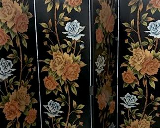 Hand Painted Four Panel Screen W Floral  Design over black toned background, measures  approx 78 inches tall x 73 inches wide