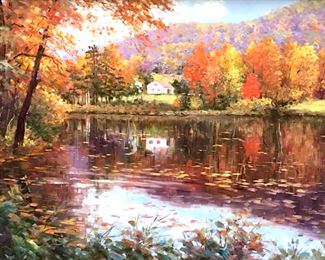 Signed Charles ZHAN Oil Painting on canvas  depicting autumn landscape with houses.  Signed in lower right corner. Canvas is lined  and set in gold tone wood frame. Canvas  measures approx 30 inches in height by 40 inches in width. Frame measures approx 37  inches in height by 47 inches in width.