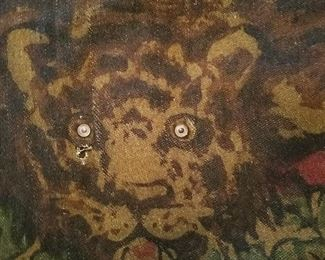 Antique 1800's/1900's carriage robe, lap robe. Features rare button eyes. Great for hanging on wall or floor for any wildlife decor, hunting room