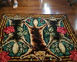 Antique 1800 or early 1900s Carriage robe, or lap robe button eyes. Use on floor or wall hanging.