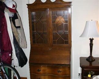 Secretary Drop Front Desk with Glass Door Bookcase